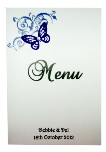 Menu with insert  Personalised Butterfly design for weddings or any occasion various colours
